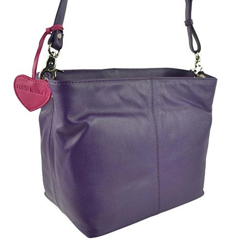 Mala Leather , Sac bandoulière pour femme Pourpre violet violet