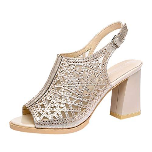 LILIGOD Damen Sandalen Party Schuhe Sommer Schuhe Bequeme Atmungsaktive Schuhe Römische Strand Schuhe Elegante Rutschfeste Hausschuhe Schnalle Pumpe Fischmaul Hohl High ()