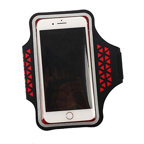SODIAL Sac de Bras de Telephone DE 5.2 Pouces la Couleur Rouge & Fitness pour iPhone 5 / 5S 5C 6/6 s 7/7 Plus Samsung Galaxy S5 S6 S7 Bord S8 S8 Plus Huawei etc