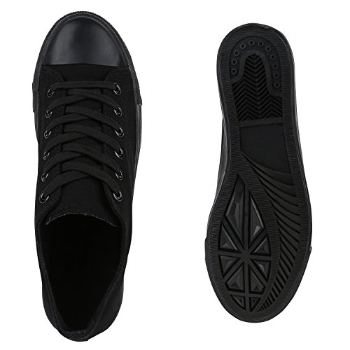 Sportliche Herren Sneakers Low Turnschuhe Textil Schuhe Flats Schwarz Schwarz