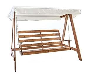 ambientehome hollywoodschaukel 3 sitzer holzschaukel schaukel massivholz vetlanda braun. Black Bedroom Furniture Sets. Home Design Ideas