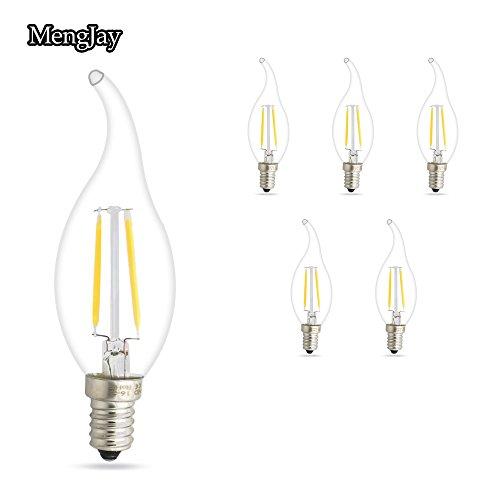 Preisvergleich Produktbild MENGJAY 2W E14 LED Kerzenform Filament E14 Classic Glühfaden 15 Watt-Ersatz,  LED Kerzen Lampe Warmweiss 2700K,  5er Pack