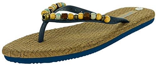 (Beppi Damen Sommer-Sandalen Zehentrenner | Freizeit-Slipper Sandaletten Zehengreifer | Perlen Hippie Peace | Spago Komfort-Sohle | Blau | Größe 37)