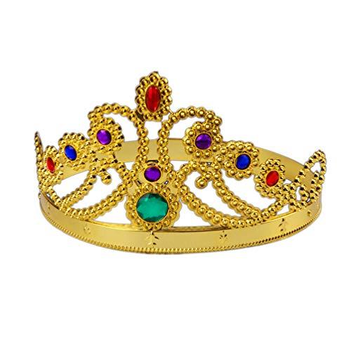 Boy Birthday Kostüm Pinata - UPKOCH Halloween-Parteikrone die goldene Diamantkönigin-Kronenfotostützplastikkrone für Kinderhalloween-Kostüm überzieht