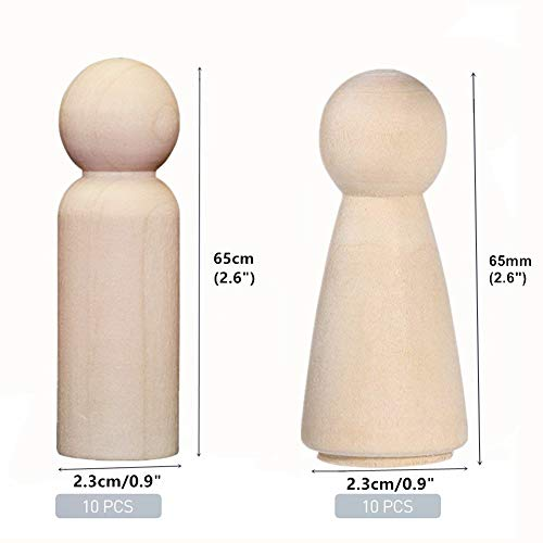 "20 Pieces 65 mm (2.55"") Unfinished Wood Doll Bodies Angel Doll Body Peg, Wooden Doll People for Kids Art and Creative DIY Craft (10-Man,10-Women)"
