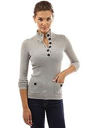 PattyBoutik Damen V-Ausschnitt Pullover mit Knöpfen gerippt 84e4e38e53