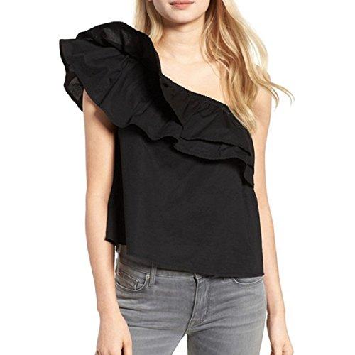 Maglia Monospalla Donna Top Spalle Scoperte con Volant T shirt Estive Manica Corta Blusa Sexy Elegante – Landove