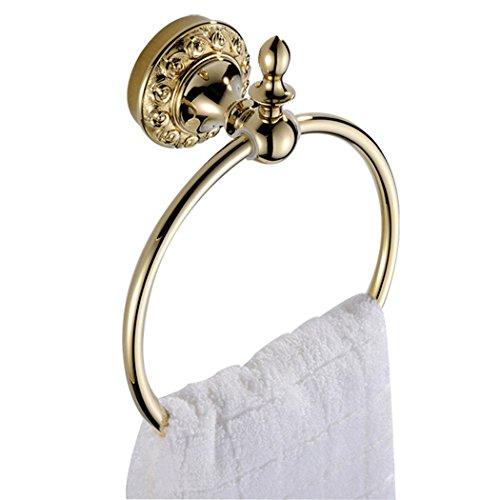 CASEWIND Handtuchring, Rund Form Prunkvoll Luxus Europäisch Design für Badezimmer Poliert Gold finished aus Messing, Handtuchhalter Wandmontieren Bohren (Poliert Messing Handtuchhalter)
