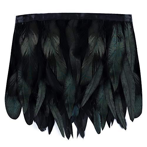 Grüne Cape Kostüm - BAKHK 2m Schwarz Grüne Federn Kragen zum Basteln Natürliche Federn Cape Schal Stoffstreifen für Karneval, Halloween, Bekleidung, Kostüme, Party