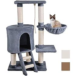 MC Star Árbol para Gato con Rascador Hamaca Plataformas Arañazo Juguete de Gatos de Sisal Natural 96cm, Gris
