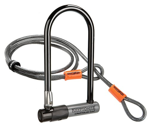 Kryptonite Bügelschloss Kryptolok 2 + KFlex 120cm m. FlexFrame Halter, - U-bike Lock