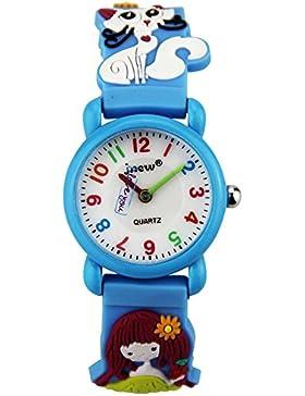 Niedlich Kreativ Karikatur Spielzeuguhr 3D Muster Mädchen Katze Blumen Blumen Arabische Ziffern Skalieren Armbanduhren...