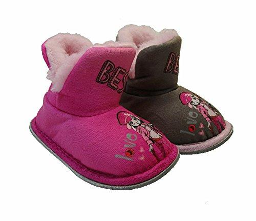 Kinder Plüsch Hausschuhe, Hausstiefel Gr.22-28 Pink
