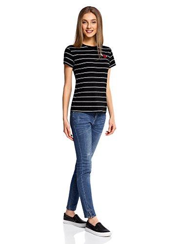 oodji Ultra Damen Gestreiftes T-Shirt mit Applikation Schwarz (2910S)
