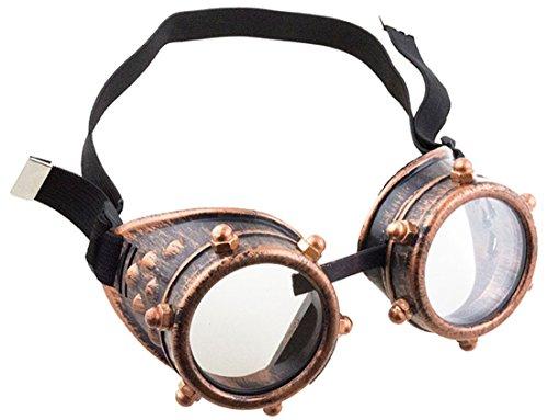 Confettery - Kostüm Steampunk Brille Schutzbrille Schrauben mit Gummi, Bronze (Hippie Girl Sexy Kostüme)