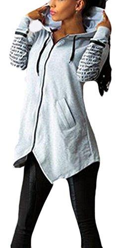 Felpa Donna Elegante Pullover Con Cappuccio Sweatshirt Manica Lunga Autunno Inverno Taglie Forti Giubbotto Casual Stampati Cerniera Sciolto Tasca Frontale Giacca Grigio