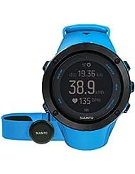 Suunto, AMBIT3 PEAK HR, Montre GPS d'extérieur/Multisport unisexe, 30h d'autonomie, Cardiofréquencemètre + Ceinture de poitrine bleue (Taille : M), Étanchéité jusqu'à 100 m, Bleu saphir, SS022305000