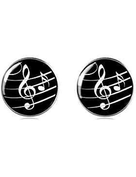 Tizi Jewellery 925 Sterling Silber Musikalische Note Ohrstecker 12 mm Handgemachte Ohrringe für Damen und Mädchen...