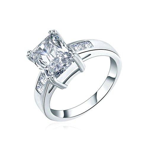 Daesar Gioielli Placcato Oro Anelli Donna Anello di fidanzamento Rettangolo Cut Anello zirconi Argento Dimensioni:12