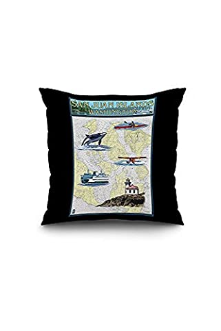 San Juan Islands, Washington - Nautical Chart (16x16 Spun Polyester Pillow Case, Black Border)