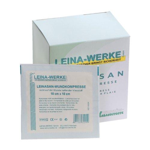 LeinaSan Sterile Wundkompressen / Vlieskompressen, nicht wundverklebend, sehr weich, Größe:10cm x 10cm - 25x2 Stck. -
