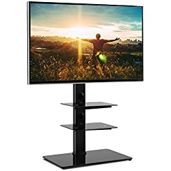 RFIVER Support Meuble TV sur Pied avec Support Cantilever pour TVs et Ecrans LCD LED de 32 à 65 Pouces Rangement avec 3 Etagères de AV Equipments TF2002