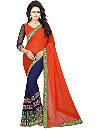 Swadesi Stuff Women's Orange & Blue Georgette Kachhi Saree With Blouse Piece