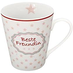 Krasilnikoff - Becher, Henkelbecher, Tasse, Mug - Text: Beste freundin - Porzellan