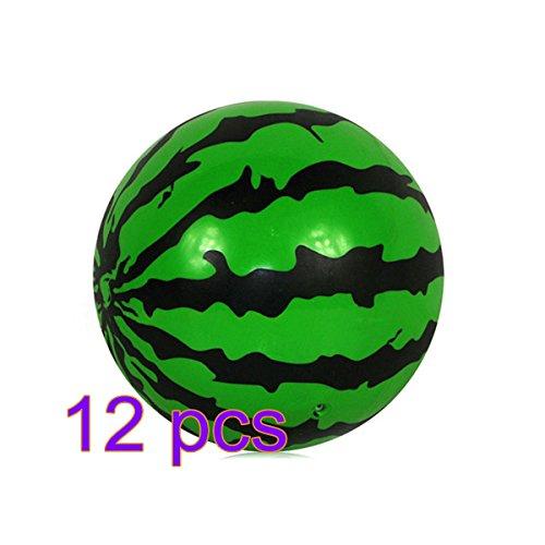 lulalula aufblasbare Beach Balls Wassermelone Kids Beach Ball PVC Pool Ball Party Spielzeug für Summer Fun, Grün/Schwarz, 12er-Pack