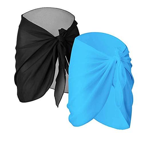 Bibao 2 Stück Mädchen Frauen Strand Wrap Sarong Cover Up Chiffon Badeanzug Wickelrock