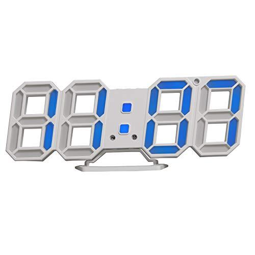 Horloge murale LED, horloge numerique murale, réveil LED Timorn 3D avec 3 luminosité réglable, horloge numerique, horloge bureau (bleu)
