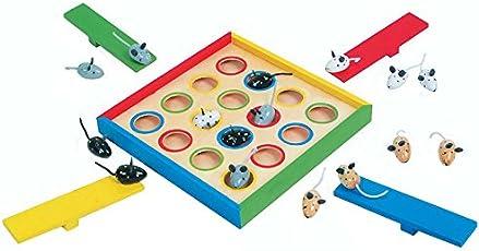 Hüpfmäuse aus Holz, Gesellschaftsspiel für die ganze Familie, für 1 bis 4 Spieler, mit 4 bunten Schleuderwippen und niedlichen Mäuse-Figuren, fördert die Motorik und Geduld des Kindes, ab 3 Jahren