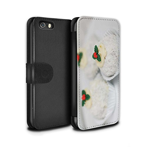 Stuff4 Coque/Etui/Housse Cuir PU Case/Cover pour Apple iPhone SE / Biscuits Design / Nourriture de Noël Collection Gâteaux Blancs