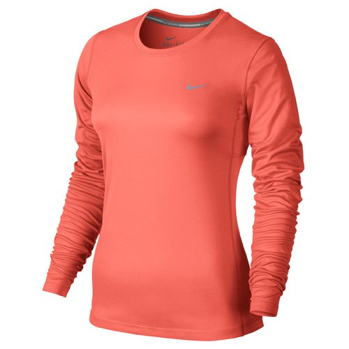Nike Miler Long Sleeve Maglia da Running - Multicolore (Lt Wild Mango/Reflective Silver) - L