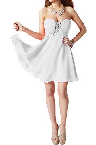 Victory Bridal Herrlich Herzfoermig Geraft Cocktailkleider Promkleider Tanzenkleider Partykleider mit Steine Weiß