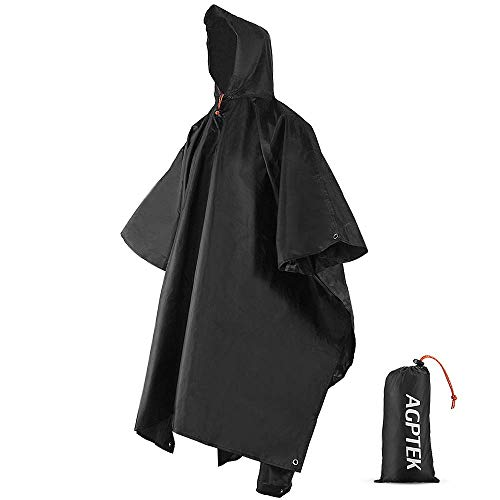 AGPTEK 3 in 1 Rain Poncho with Carry Pouch (Black, Blue, Orange) Adult Waterproof Reusable Raincoat with Hoods, Rainwear for Bike Hiking Camping Outdoor.
