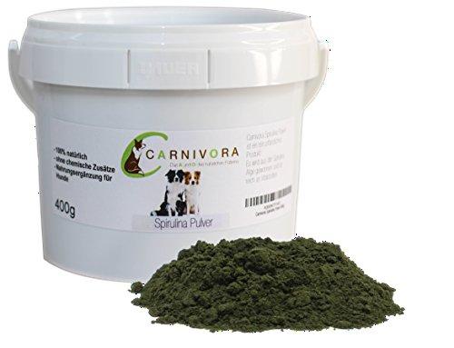 Carnivora Spirulina Pulver (BARF Nahrungsergänzung für Hunde) 400g - BARF - 100% natürliches Produkt aus Spirulina-Algen (gemahlen) - ideal als Ergänzungsfuttermittel zum Barfen (als Zusatz)