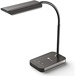 Lampada da Tavolo TaoTronics, Eye-care Lampada LED da Scrivania per Lettura ( 7W, Touch Control, 7 Livelli di Luminosità, Design a collo d'oca ) – Colore Legno