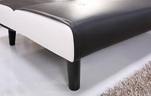 NEG Design Schlafsofa HELIOS (schwarz/weiß) mit Napalon-Leder-Bezug Klappsofa, 3-Sitzer, Liegefläche 179x108cm, sehr bequem - 6