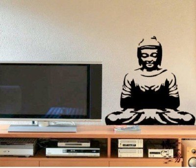 DECOR Kafe Decal Style Buddha Wall Sticker Wall poster (PVC vinyl, 99 X 68 CM)  available at amazon for Rs.299