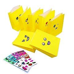 Idea Regalo - JZK 25 x Sacchetti Carta Gialli con Adesivi Emoticon per Regalo Festa Compleanno Bambini, Buste bustine Carta per bomboniere Alimenti Caramelle