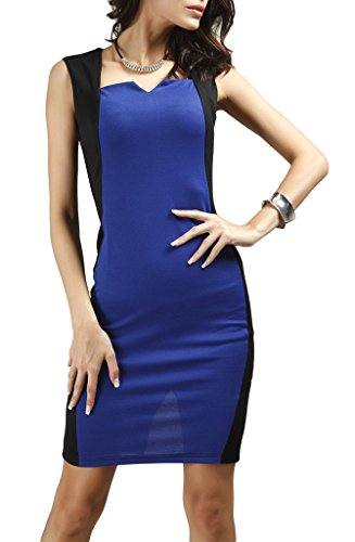Smile YKK Femme Été Slim Robe sans Manche Vogue Couleur Contraste Bleu Royal