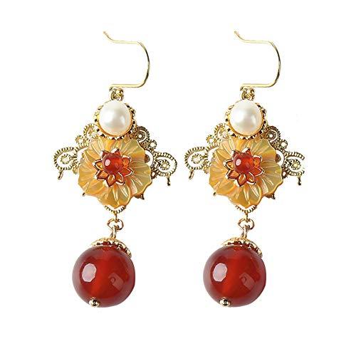 Udecoroption Blume Ohrringe, Mode Ohrringe Charm Jade Ohrringe rot baumeln Anweisung Ohrringe Geschenk für Sie
