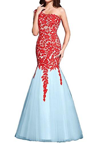 Victory Bridal Attraktive Rot Ein-schulter Damen Abendkleider Ballkleider Meerjungfrau Lang mit Spitze Neu Rot/Blau