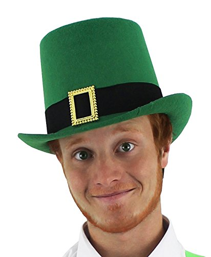 ADULTS IRISH HAT GREEN TOP HAT WITH BUCKLE DETAIL FANCY DRESS ACCESSORY LEPRECHAUN ST PATRICKS DAY TOPPER HAT IRELAND COSTUME - AVAILABLE IN MULTIPLE PACK SIZES