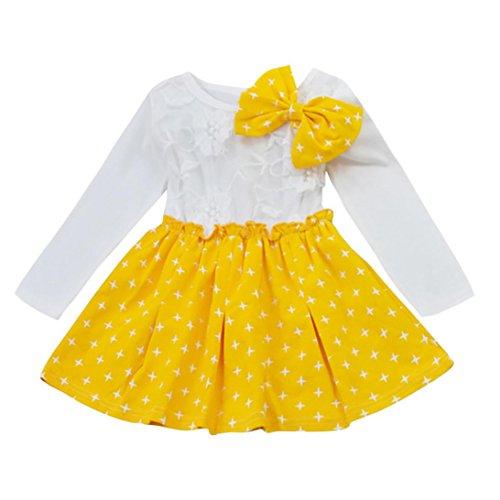 Longra Kinder Mode Kleinkind Baby Mädchen Herbst Kleidung Stern Bowknot Falten Tutu Kleid Party Hochzeit Prinzessin Kleid (90CM 6Monate, (Kostüm Neues Baby Jahr)