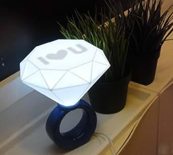 Firefly LED Lampe Bague en Diamant Amoureux lampe de table Veilleuse(bleu)-Vie créative