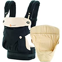 Ergobaby Baby Carrier for Newborn to Toddler incl Infant Insert, 360 Black/Camel 4-Position Ergonomic Child Carrier and Backpack