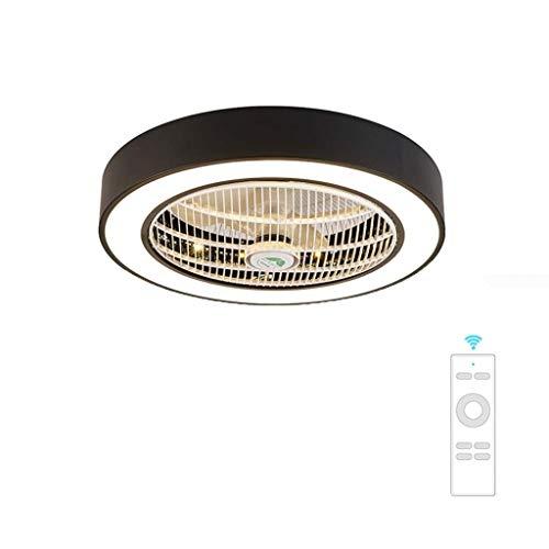 Slz deckenventilator deckenleuchte kreative deckenleuchte LED dimmbare deckenventilator mit beleuchtung und fernbedienung stille kindergarten schlafzimmer (60 * 24 cm),Black