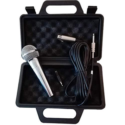 Eurosell - Premium Mikrofon dynamisch - silber - Gesang & Bühne + 5m Kabel XRL KLINKE Mic Set Micro Gesangs Mikro dynamisches